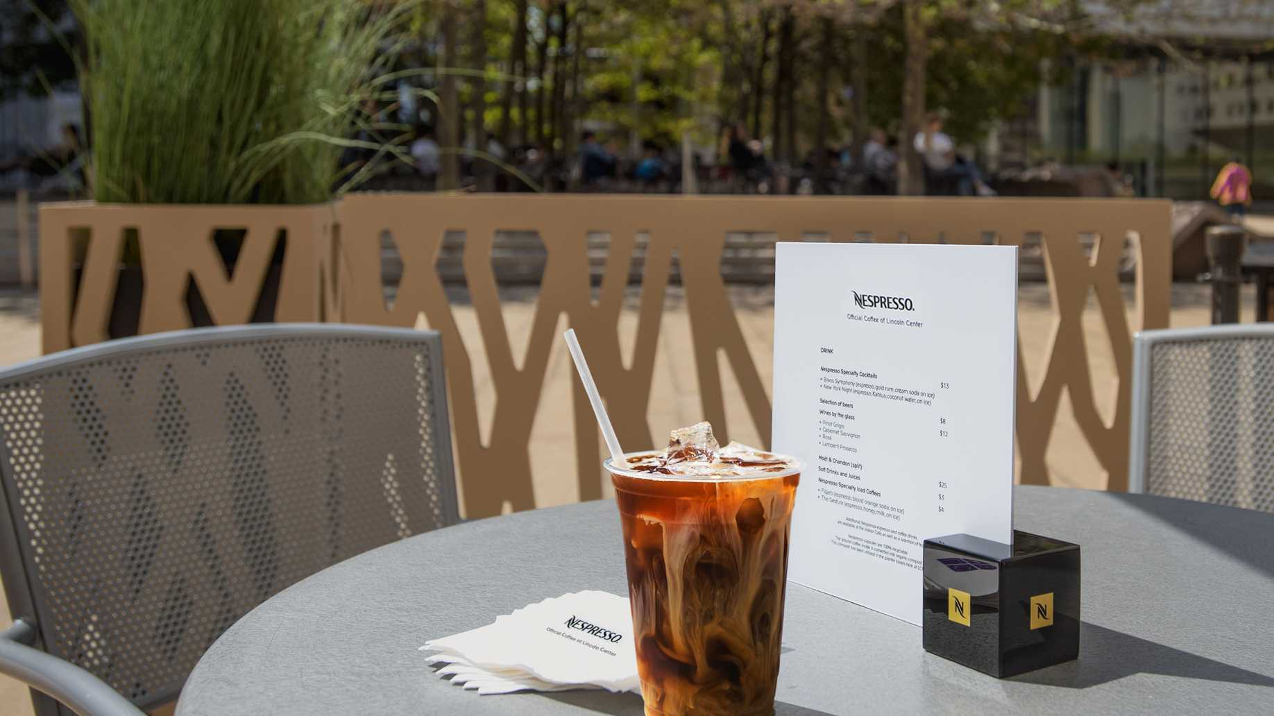 Nespresso specialty iced coffee served at the outdoor lounge during Lincoln Center Summer programming